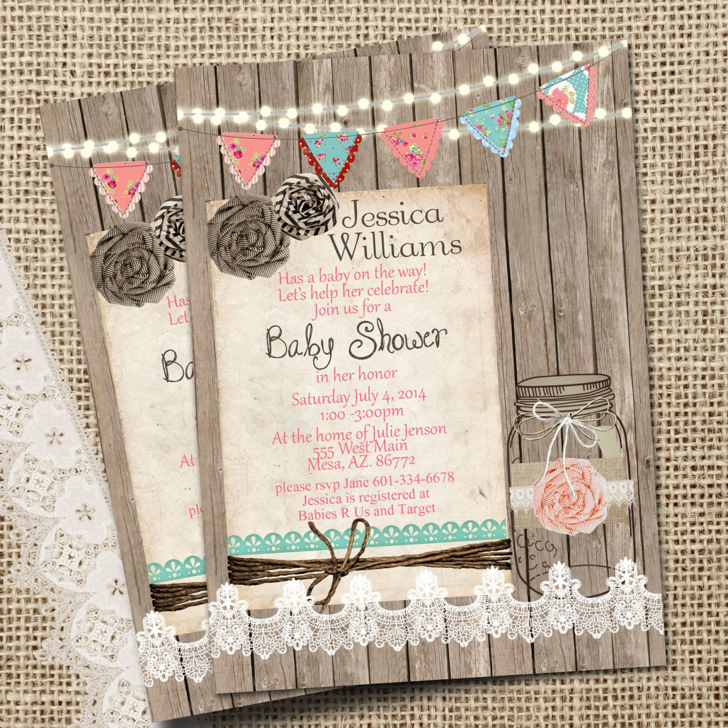 rustic mason jar burlap and lace baby shower by wallflowerevents, Baby shower invitations