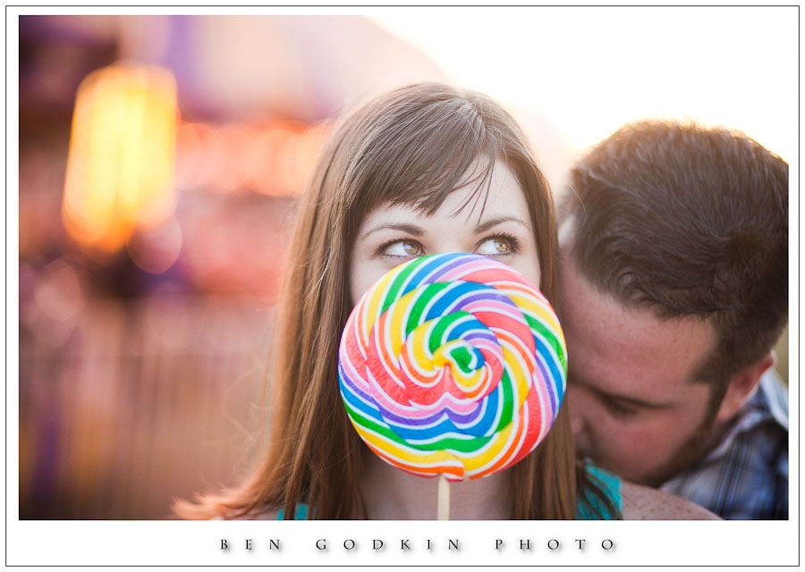 Engagement photos at the Bastrop Carnival. LoliPop!