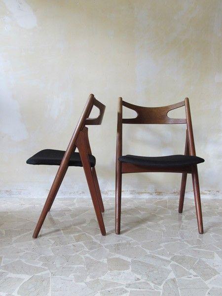 Hans J. Wegner; #CH29 Teak 'Sawbuck' Chairs for Carl Hansen
