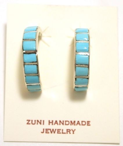 Zuni-Turquoise-Inlay-Sterling-Large-Half-Ring-Post-Earrings-Glennetta-Luna 7/8 x 1/4