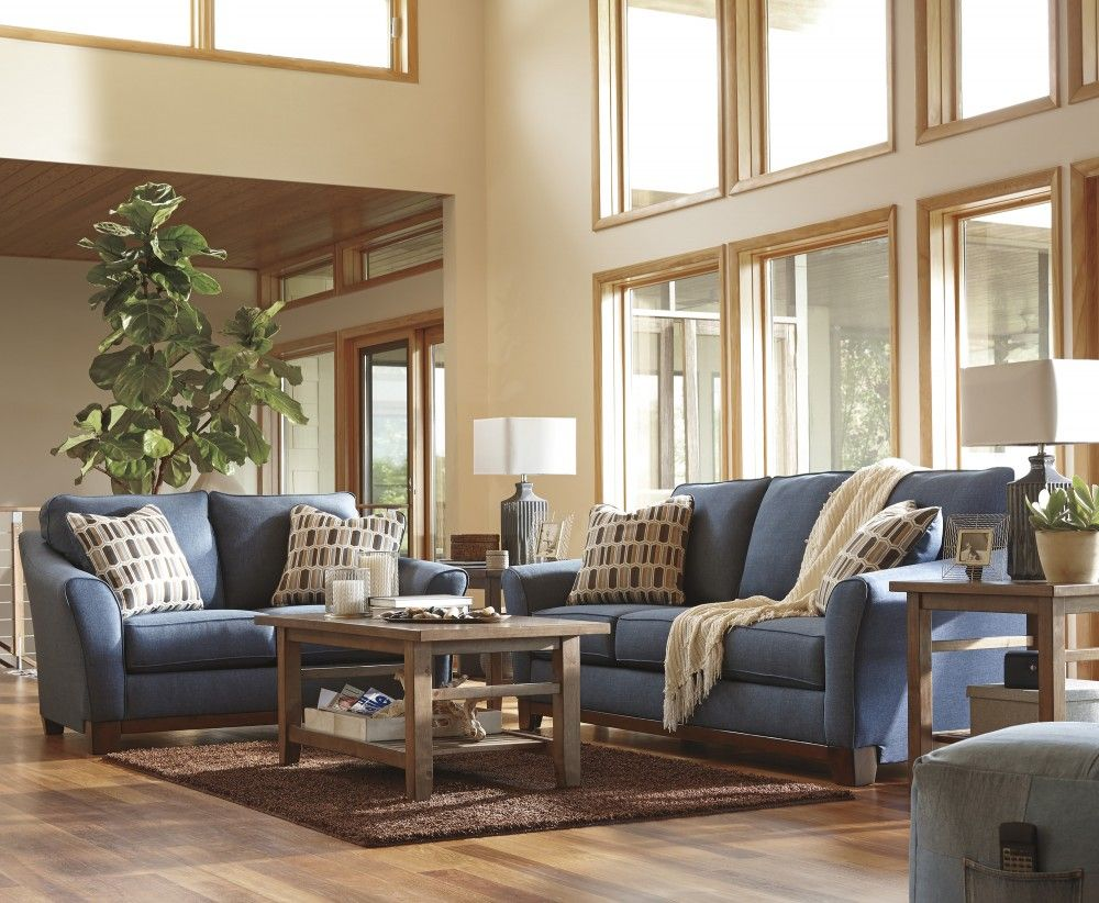 Janley denim sofa loveseat 43807 38 35 living room groups that furniture outlet - Outlet decoracion casa ...