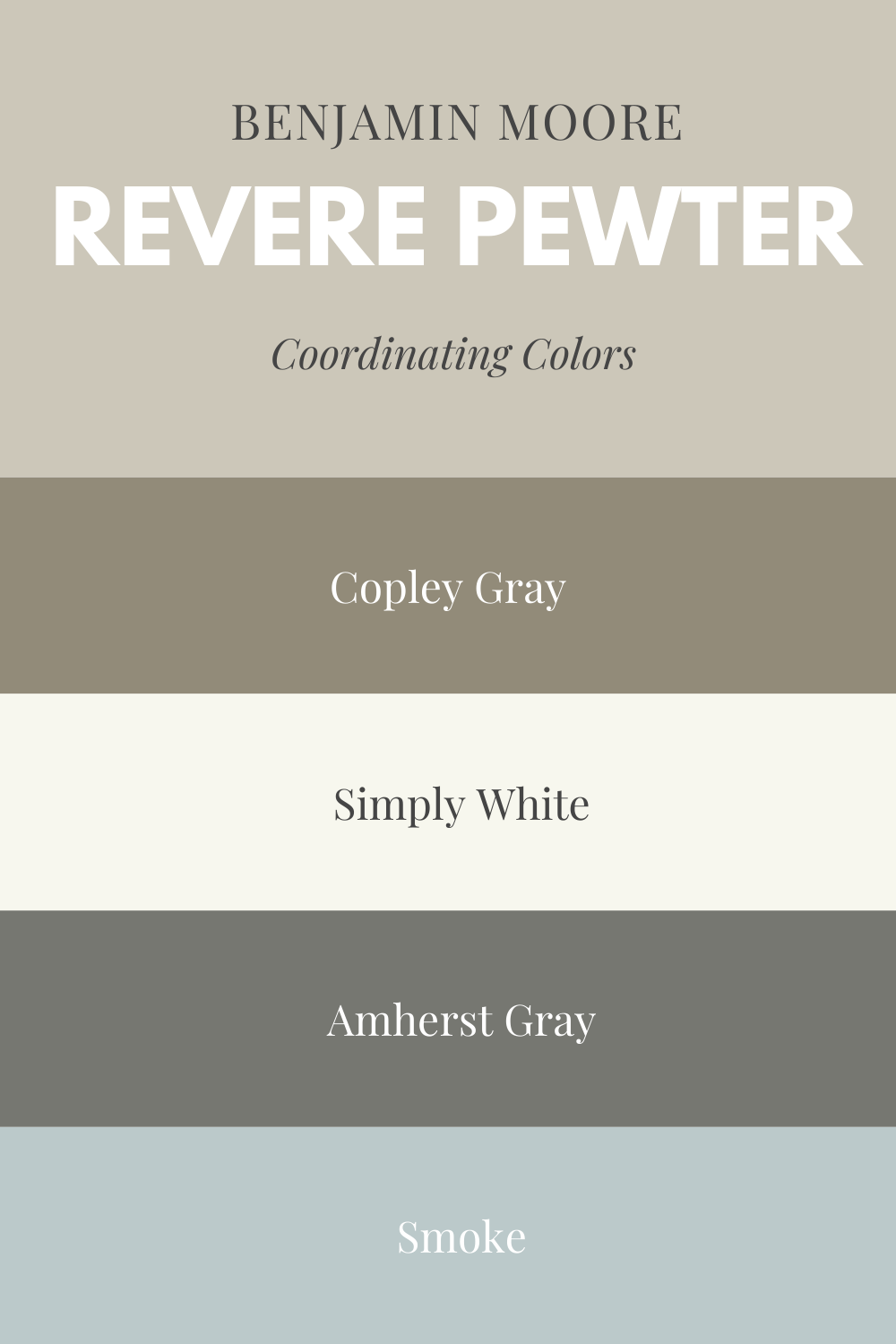 Coordinating colors with Revere Pewter