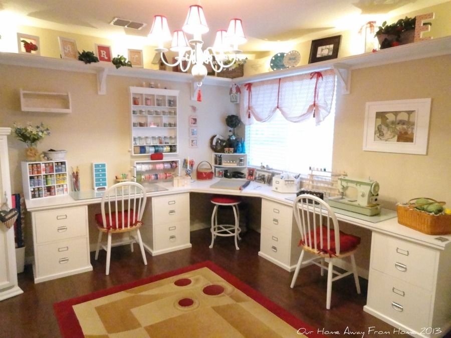 craft room design.  Our Home Away from Craft Room Halfway Done Reveal I can see this in the corner of a huge studio with vintage sewing