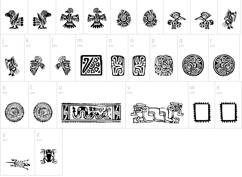 Mayan Symbol Signs And Meaning Lilian Virginia Caixetas 2000 Font