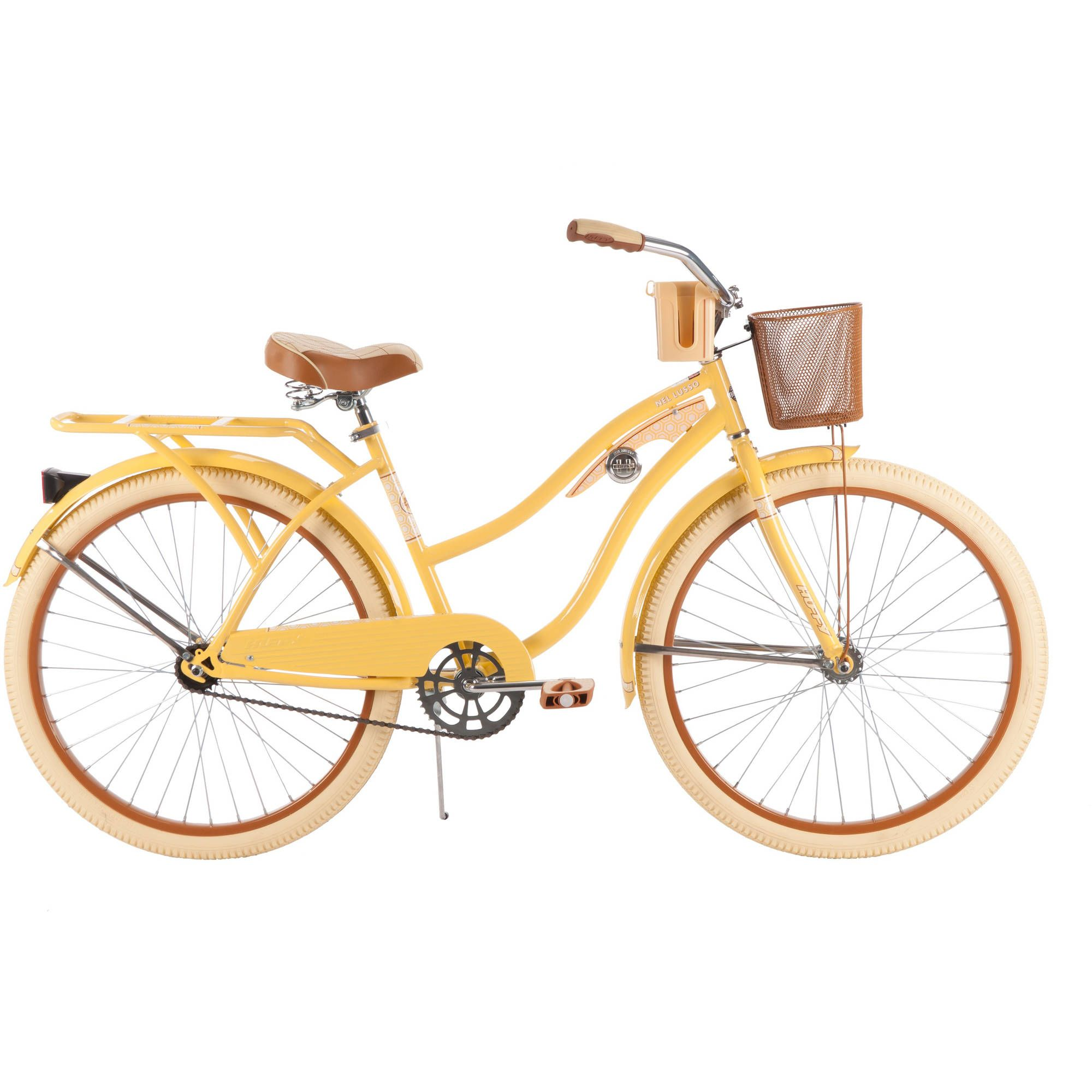 Huffy Nel Lusso Classic Cruiser Bike With Perfect Fit Frame Women S Yellow 26 Walmart Com Cruiser Bike Beach Bicycle Beach Cruiser Bikes