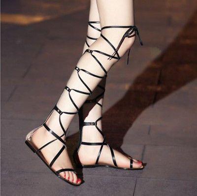6da8bb649d1a Womens Knee High Boots Sandals Gladiator Strappy Cut Out Flat Punk Shoes  Zipper