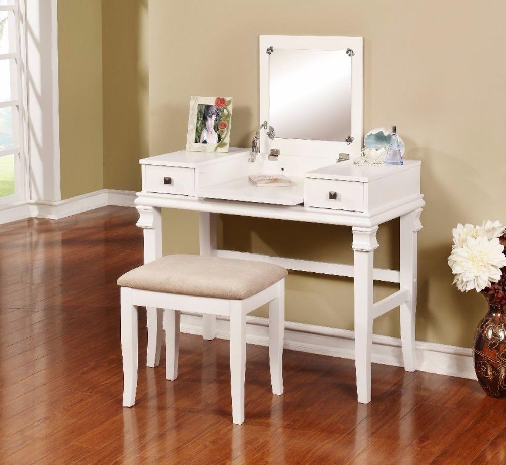 Traditional design ariana vanity set white dresser mirror bedroom furniture