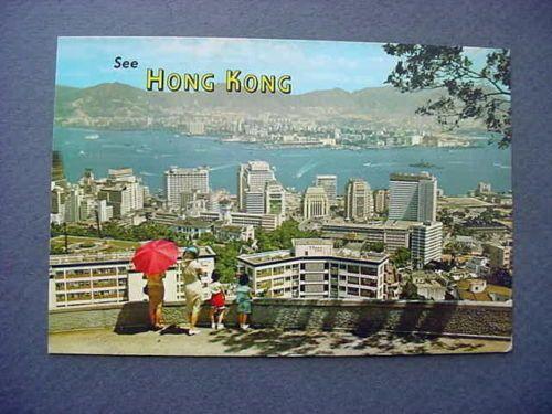 Vintage Hong Kong Postcard Birdseye Tourists from Lookout