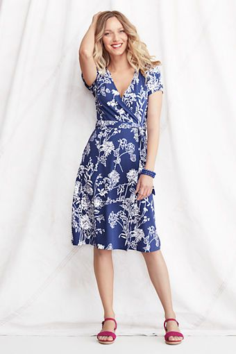 b3411e04c655e3 Women s Short Sleeve Pattern Cotton Modal Wrap Dress from Lands  End.  Possible Easter