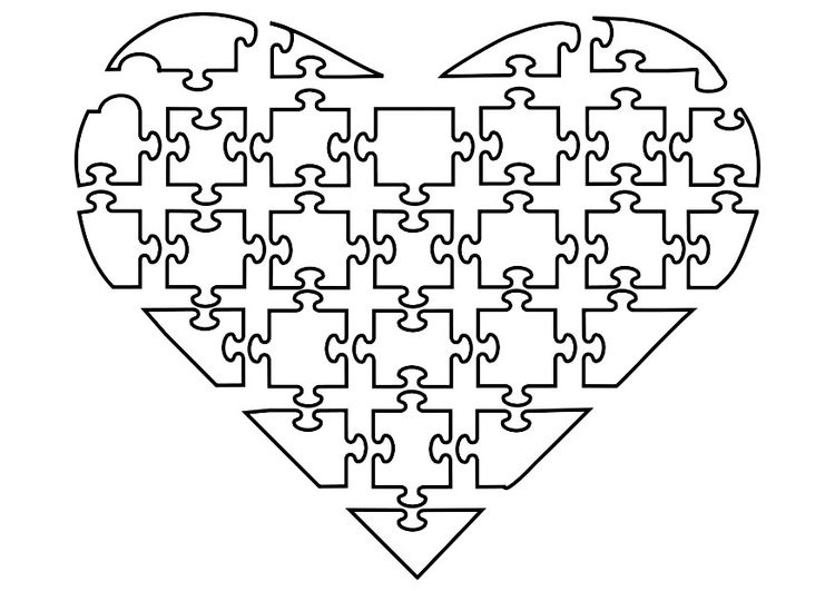 Coloring Page Jigsaw Heart