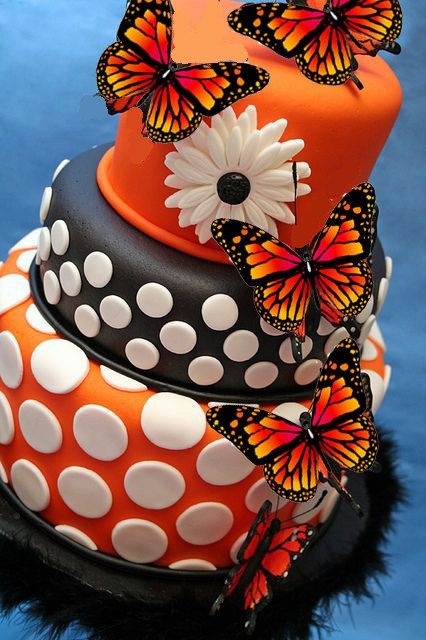 Edible Monarch Orange Butterfly Cake Decorationscupcake toppers