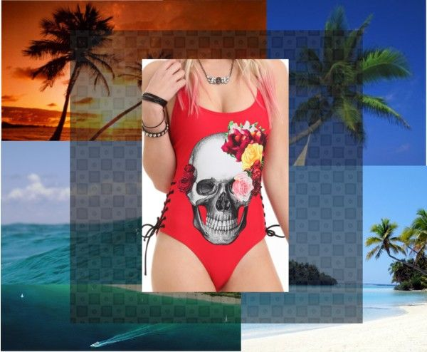 """""""skull with flowers swim suit"""" by listen-for-once ❤ liked on Polyvore"""