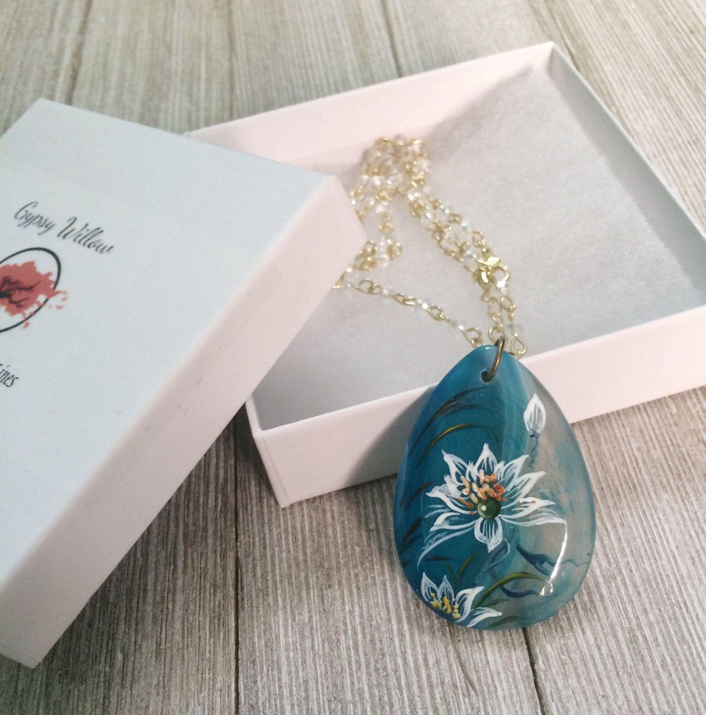 Blue agate hand painted lotus flower pendant necklace