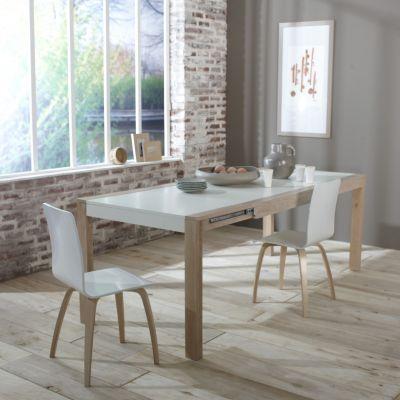 3 SUISSES Lot de 2 chaises bicolores blanc/naturel ou taupe/naturel