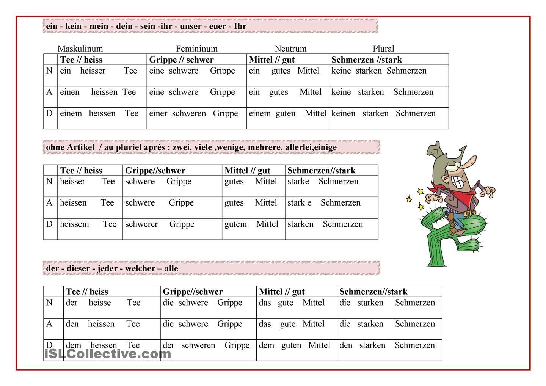 adjektive deklinieren alem n deutsch german language und grammar. Black Bedroom Furniture Sets. Home Design Ideas