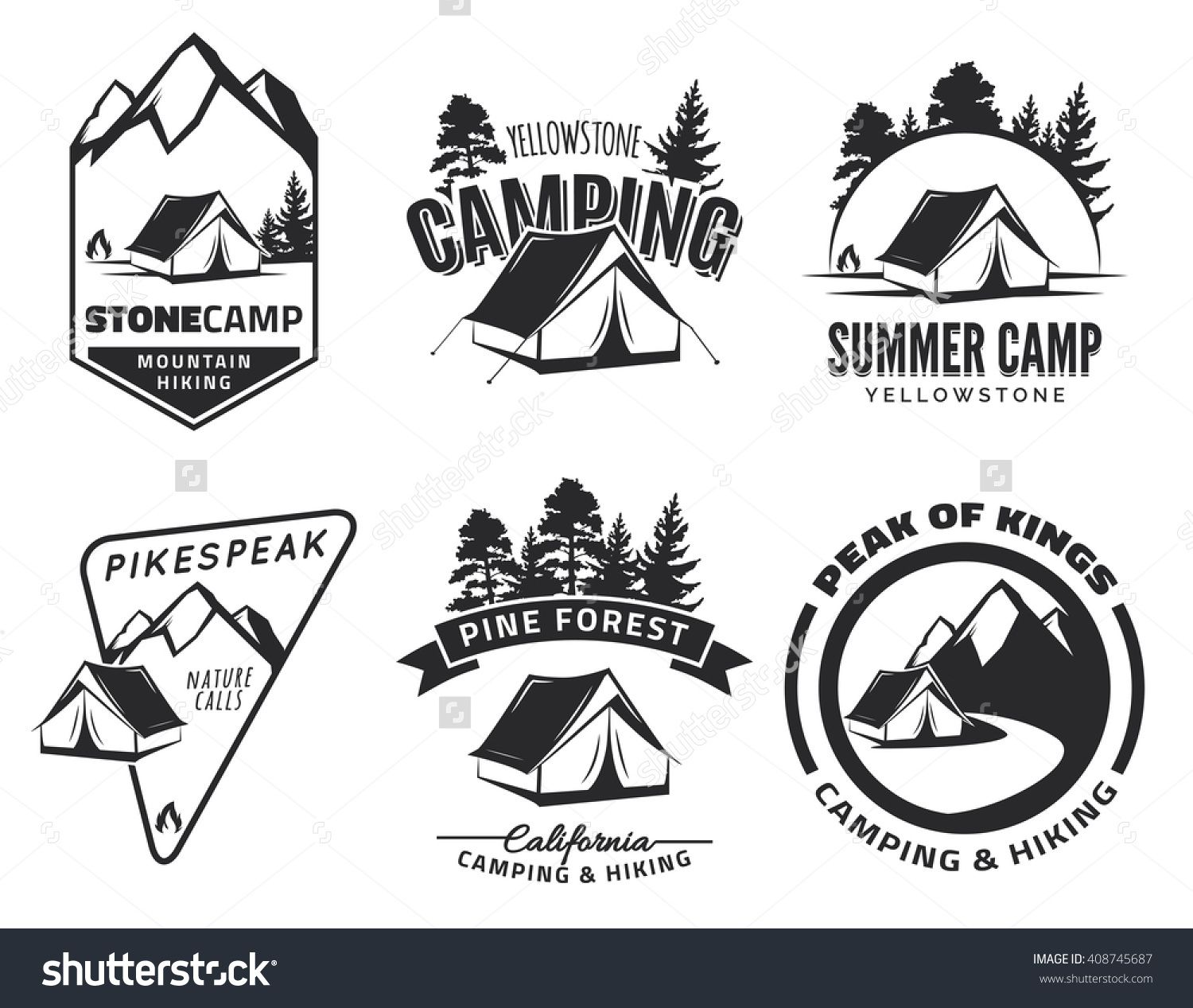 Set of vintage camping and outdoor adventure emblems ...