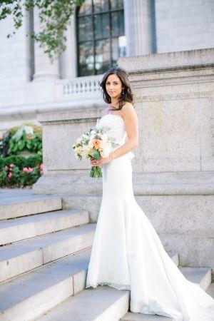 Elegant NYC summer garden bride: http://www.stylemepretty.com/2014/10/27/nyc-summer-garden-wedding-in-bryant-park/ | Photography: Caroline Frost - http://carolinefrostphotography.com/