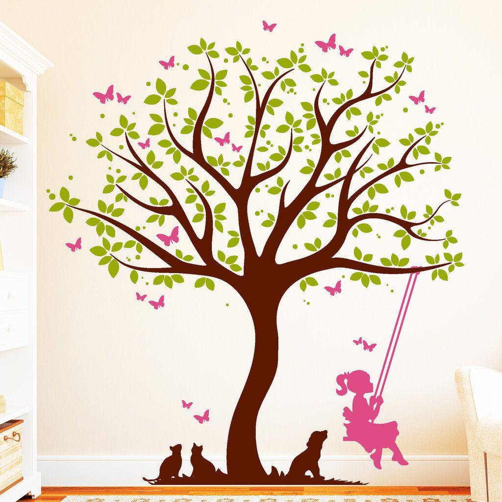 Baum Mit Madchen Auf Schaukel 3farbig Wandtattoos Schaukel Tapeten