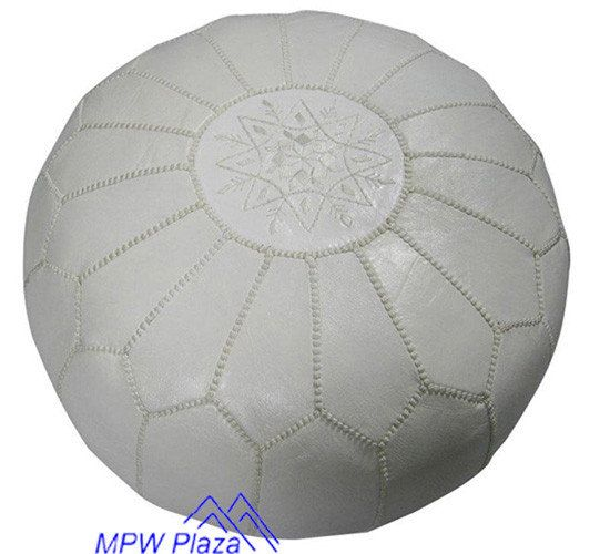 White Pouf Ottoman White Moroccan Leather Poufottoman  Sold Unstuffed On Etsy