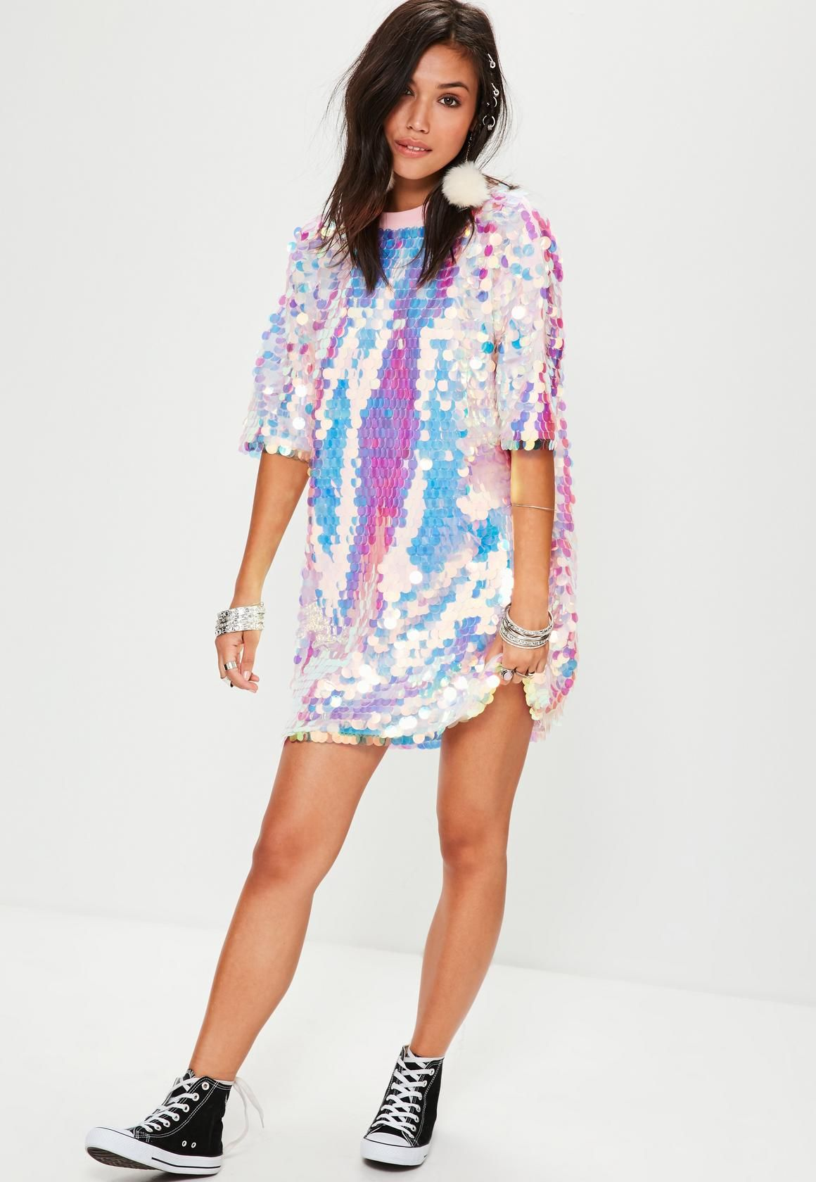 77052b39852cd Missguided - Pink Sequin T Shirt Dress | HALSEY in 2019 | Sequin t ...