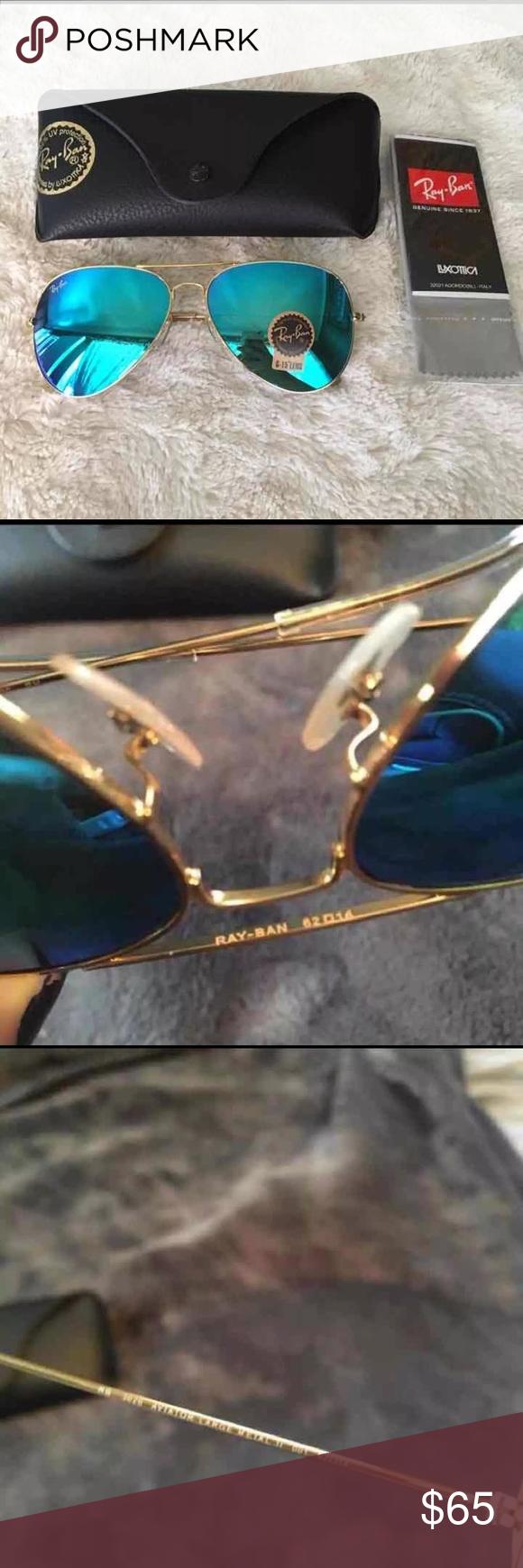 Ray Ban Aviator Sunglasses Aqua Blue New 62mm Lens Ray Ban Aviator ...