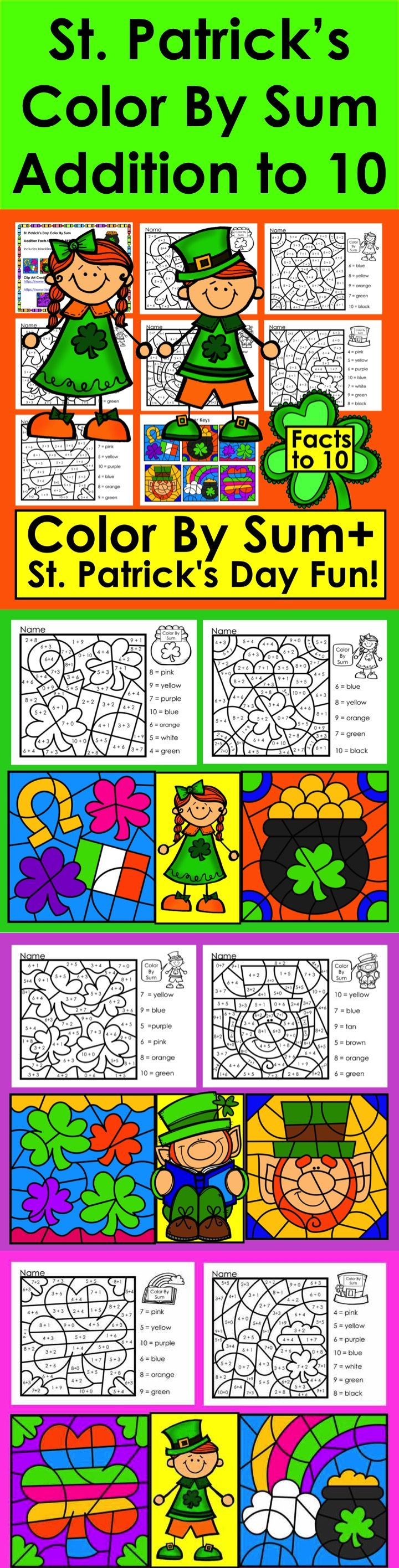 St. Patrick\'s Day Color By Sum - ☘ Addition Facts to 10 ...