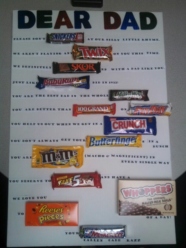 Candy Bar Poster Dad Birthday Gift Candy Birthday Cards