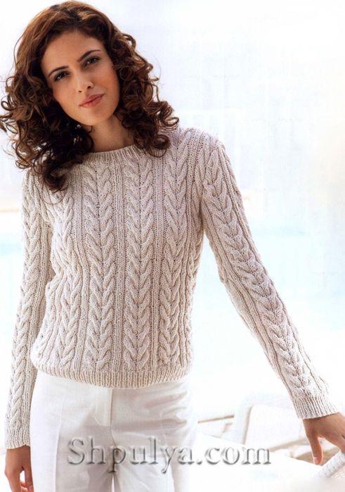 свитер с косами вязать
