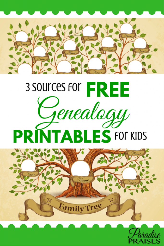 Sources For Free Genealogy Printables For Kids  Family Tree