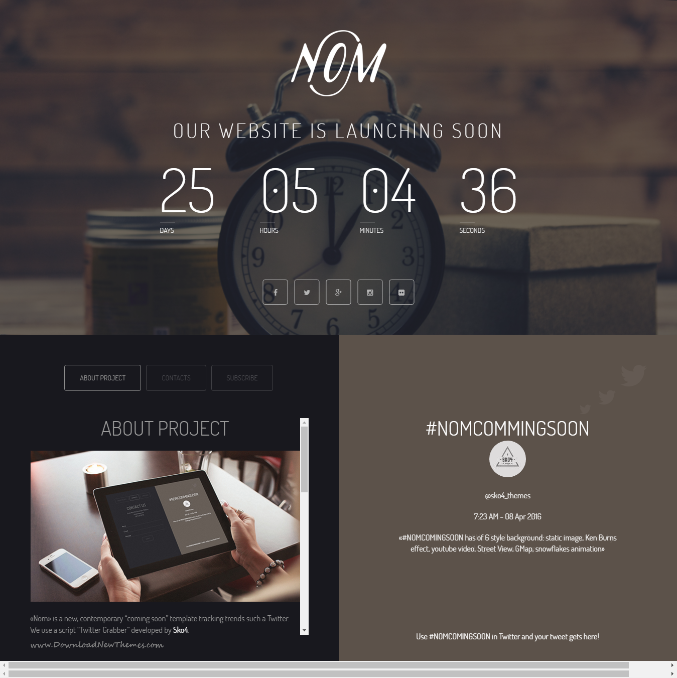 Nom - Responsive Countdown Landing Page