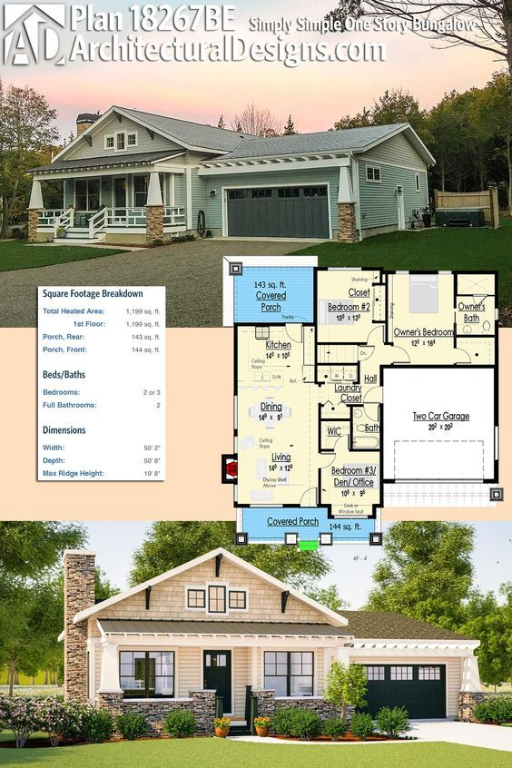 Architectural designs bungalow house plan be gives you beds and over square feet of heated living space ready when are also simply simple one story in plans rh pinterest