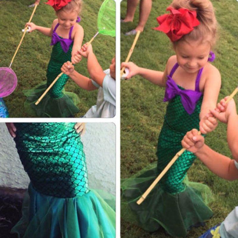 Girls Little Mermaid Costume Set Kids Princess Dress Up Party Ariel 7 8 9 10+