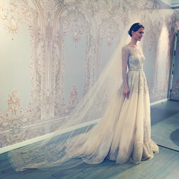 Monique Lhuillier Bridal Fall 2015 Photo By Saks Fifth Avenue Instagram