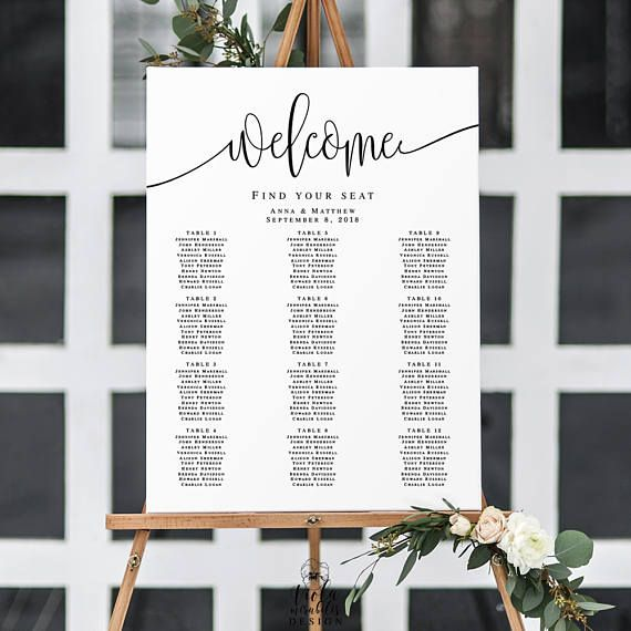 Wedding Seating Chart Poster Welcome Seating Chart Template - Wedding invitation templates: seating chart template wedding