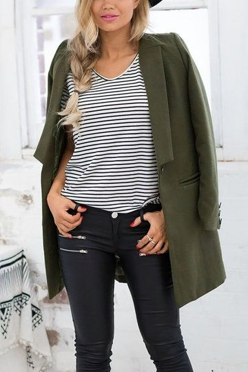 Green Button Front Duster Coat