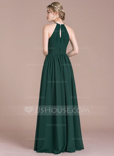 Photo of A-Line/Princess Scoop Neck Floor-Length Chiffon Bridesmaid Dress With Ruffle (00…
