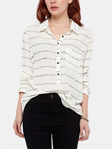 Crepe blouse wit, off-white - The Sting