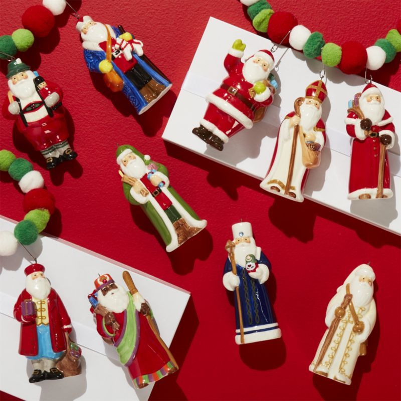 Shop Around The World Santa Ornaments Set Of 10 Santa Claus Travels The World In This Unique Christmas Decorations Unique Christmas Ornaments Santa Ornaments