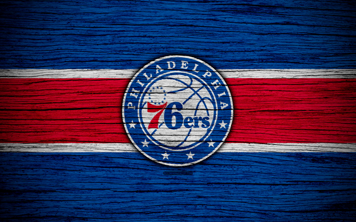 Download wallpapers 4k, Philadelphia 76ers, NBA, wooden texture, basketball, Eastern Conference, USA, emblem, basketball club, Philadelphia 76ers logo