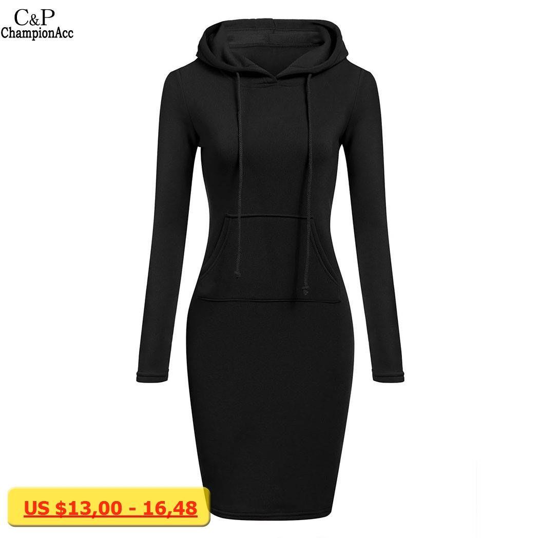 Fanala women pencil hoodie dress cotton blend fashion oneck long