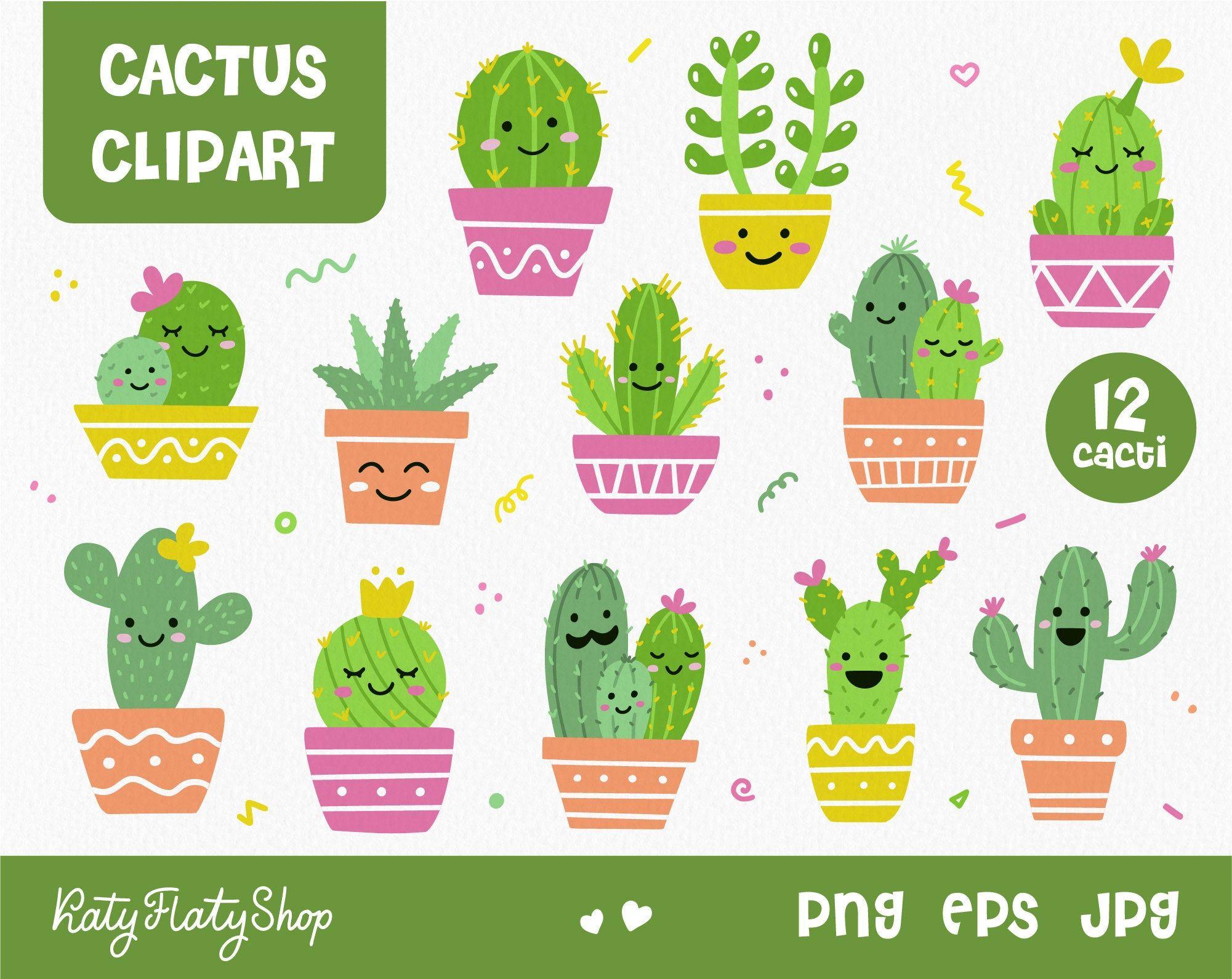 Cute Cactus Clipart Png Eps Jpeg Succulent Clipart Commersial Use Cactos Desenho Arte Com Cactos Desenhos Fofos E Faceis