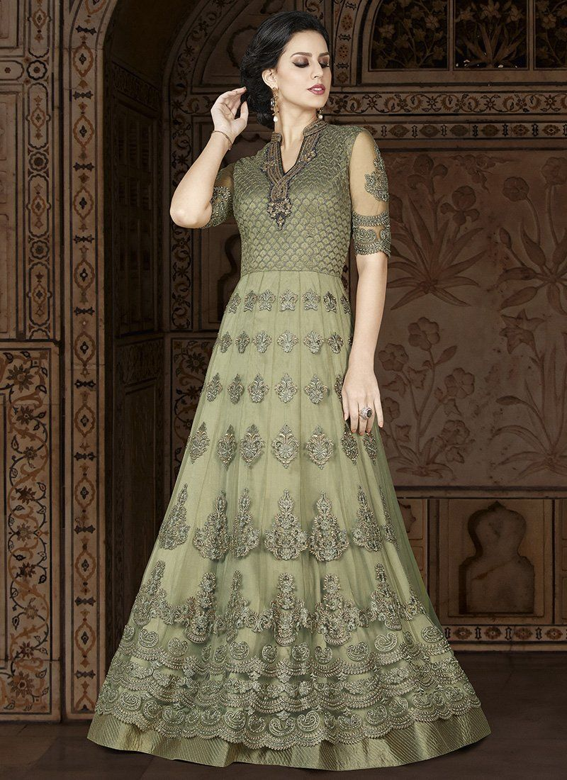 9fb3cc6f6b Light Green Embroidered Net Anarkali Suit in 2019 | Indian wear ...