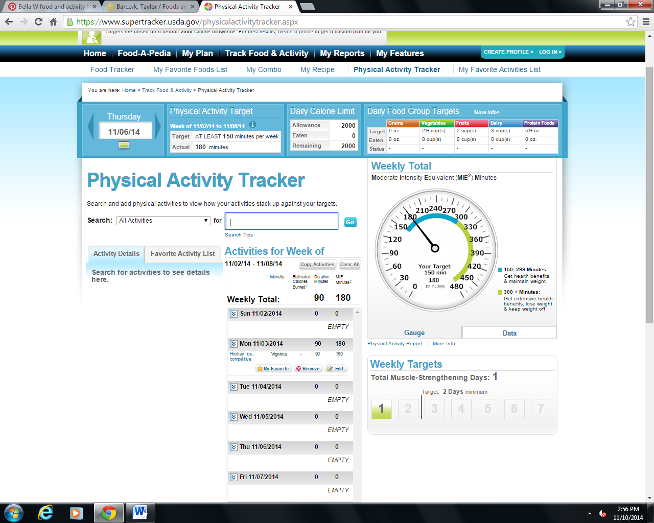 my physical activity for week 4
