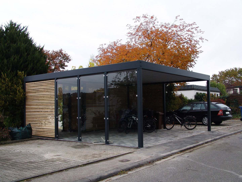 Design Metall Carport aus Holz Glas Stahl Blech mit