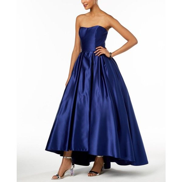 Betsy & Adam Petite Strapless High-Low Gown ($259) ❤ liked on ...