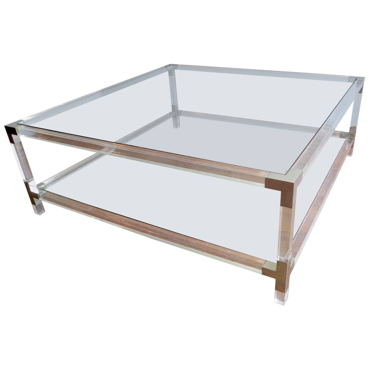Large Square Lucite Coffee Table