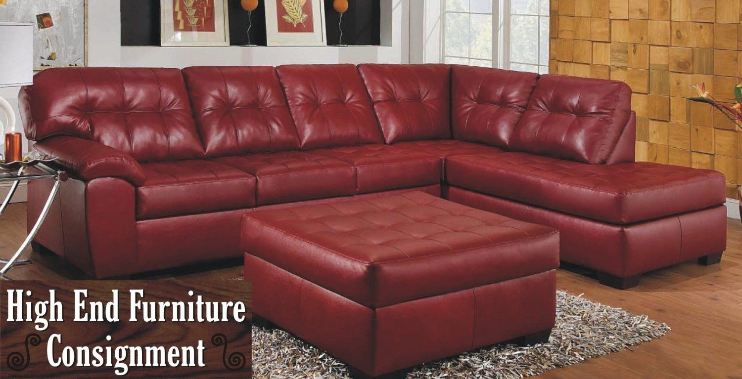 Dark Red Leather Sectional Sofa