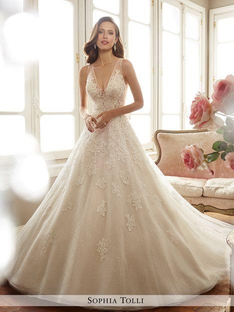 Y11701 dress (A-line, V-Neck, Straps, Sleeveless ) from Sophia Tolli ...