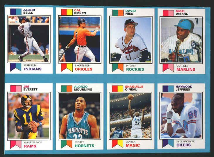 1993 Sports Card Price Guide Monthly Uncut Sheet Cards 25 32