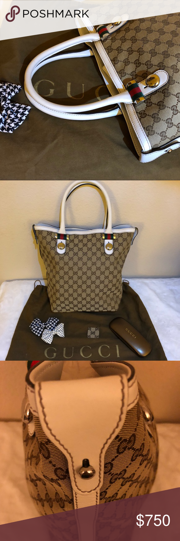 552f9fcd32c0 Gucci medium tote bag Authentic Gucci Canvas Tote It comes with a dust bag  and a